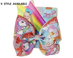 niñas chinas nuevo de la historieta 8INCH arcos del pelo del unicornio impreso muñeca hecha a mano arco para niñas Boutique accesorios de la pinza de pelo