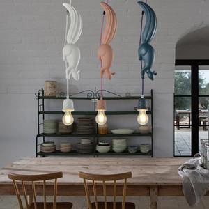 LED Hanglamp Squirrel Forma Nordic creativa Hanging Lamp luce del pendente per sala da pranzo Soggiorno Camera dei bambini Rosa Blu Bianco E27