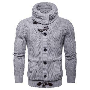 El más nuevo diseño Cardigan prendas de punto Europa y América Suéter de un solo pecho Hombres Botón de otoño Suéter de punto elástico Hombre XXL
