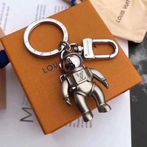 Élégant astronaute trousseau homme élégant porte-clefs métal solide classique et femme voiture trousseau avec la boîte d'emballage de marque