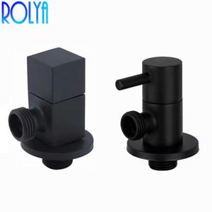 ROLYA 매트 블랙 각도 정지 밸브 광장 / 라운드 황동 화장실 욕실 삼각형 어댑터 밸브 G1 / 2 인치 IPS의 전원을 켜고 스위치를 피팅