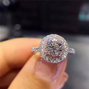 bijoux de mode 925 Bague en argent sterling ronde coupe 2CT sona diamant rose 2 réglage surround Pave cz bande de mariage Anneaux pour les femmes de taille 4-9