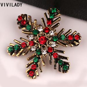 Costume Broche VIVILADY clássico bonito do floco de neve de Natal de cristal Rhinestone Broches Pin Feminino Femme Bijoux presente Acessório