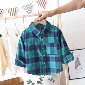 2020 New Spring And Autumn Mens And Womens Baby Long Sleeve Shirt Top 1-2-3-4-5-Year-Old Baby Plaid shirt