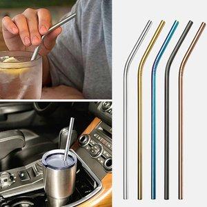 Amazon 304 réutilisable en acier inoxydable Drianking Straws robuste Bent droite 215 * 6 mm Straws avec le nettoyant Pinceau Accessoires de cuisine