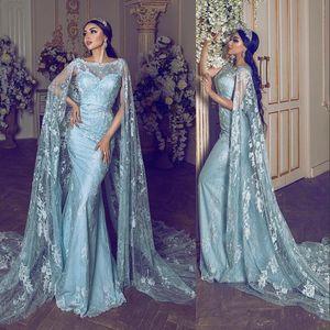 Светло-Голубое Кружевное Вечернее Платье с Длинным Мысом Длиной до Пола Русалка 2019 Мода Пром Платья Партии Конкурс Платье Нестандартного Размера