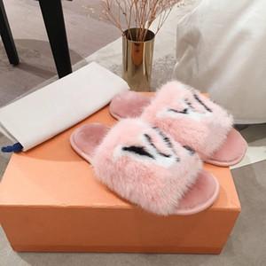 Größe 35-42 süße Süßigkeit Farbe weiche warme Fell Hausschuhe Frauen echte Voll Nerz-Haar-flockige Pantoffel Dias Maultiere Frauen öffnen Zehe flache Schuhe