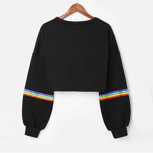 Kadınlar Hoodies Sweatshirt Uzun Kollu Gökkuşağı Çizgili Tasarım Casual Kısa Kazak Süveter Sonbahar Ve Kış Bayan Giyim