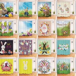 Páscoa Banho Cortina de 180 * 180 centímetros de Páscoa de poliéster impermeável cortina de chuveiro 3D Coelho Ovo Impresso Happy Easter Bath Curtain