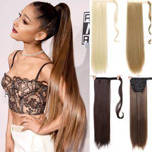 고품질 22 인치 실키 스트레이트 합성 클립 Drawstring에서 Ponytail Hairpieces 여성용 머리카락 확장 고온 섬유