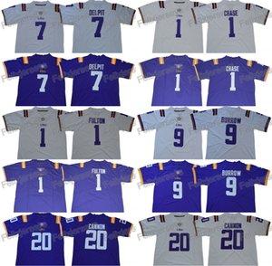 LSU 호랑이 9 Joe Burrow 7 Grant Delpit 20 Billy Cannon 1 Ja'Marr Chase Kristian Fulton College Football Jerseys 더블 스티치 이름 번호