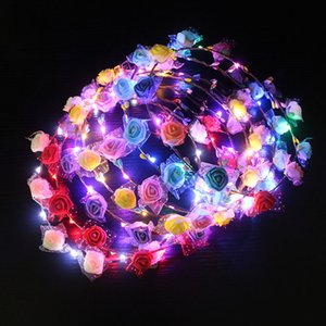 Réglable LED Flower Crown Light Up Guirlandes Hairband Fermoir Floral Head Hoop Bandeau headwears mariage Chirstmas Party Décor cadeau FFA3800