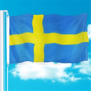Sweden Banner 3ft x 5ft Hanging Flag Polyester Sweden National Flag Banner Outdoor Indoor 150x90cm for Celebration