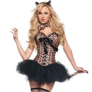 5pcs Brown imprimé léopard Robe animal Corset Carnaval Halloween Costume pour les femmes sexy Catwomen Cosplay Jeu de rôle Costume Party Adult S-XXL
