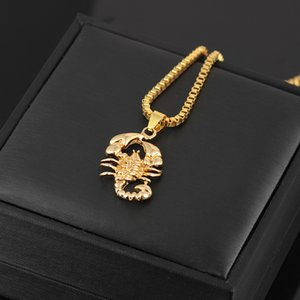 2020 Men Hip Hop Long Pendant Necklaces personality Jewelry Gold Chains Gold Color Scorpion Necklace Fashion Accessories O1FA