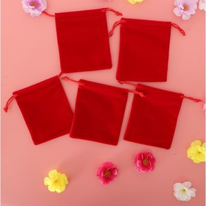 5 Pieces Red Velvet Drawstring Pouches Jewelry Christmas Gift Candy Bag Packing