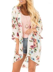 Loser Mantel Prevent Bask Kleidung-Sommer-Strand-Chiffon- Sunscreen Bluse floar Printed Langarm Cape Women Fashion
