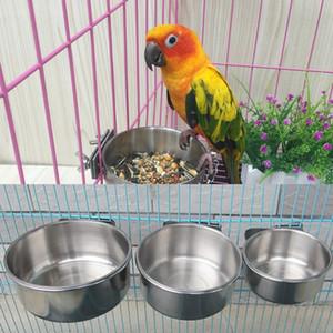 Acqua Alimentazione alimentazione degli uccelli Coppe ciotola del cane con morsetto in acciaio inox Parrot Cage Supporto del basamento libera il trasporto