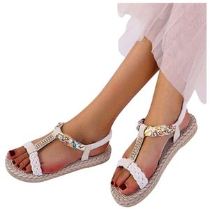 Crystal T-type Printed Sandal for woman flower Elastic Band Peep Toe Flat With Sandals Shoes Woman Zapatos De Mujer 2020 lll