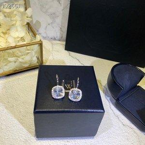 All'ingrosso diamante link Classic Designer di gioielli da sposa S925 Sterling Silver Piazza Grande zircone fascino orecchini di goccia per le donne
