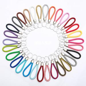 CR jóias Mix cor PU couro trançado de tecido Keychain Rope Anéis Fit DIY pingente círculo chaveiro suporte do carro Chaveiros Acessórios de jóias