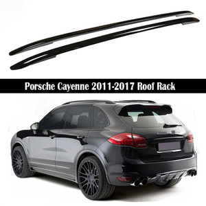 Barras de techo para Porsche Cayenne 2011-2017 Bastidores rieles de la barra portaequipajes barras superiores de aleación de aluminio Bastidores Cajas Rail