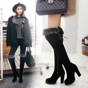 con formato della scatola 33-43 tenere al caldo tallone spesso grosso pelliccia sopra il ginocchio della coscia alti stivali di design di lusso delle donne stivali