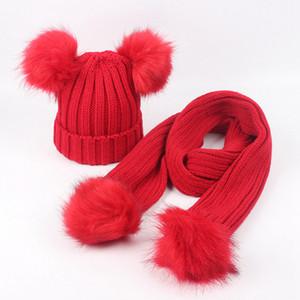 Детские зимние шапочки шарф Набор Шляпы дети Pom Pom Beanie вязаную шапочку Повседневная шерсть теплой Cap с буквы шарфов LJJA3291
