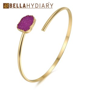 Jóias Boho Vintage Europeia geométrica irregular Resina druzy Assimetria Mão Cuff ajustável Bracelet para as Mulheres Bangles Bileklik