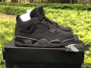 2020 Yayın 4 Siyah Kedi Açık Ayakkabı Erkekler Siyah Işık Grafit 4 S Jumpman Atletik Spor Orijinal Kutusu ile Otantik Sneakers