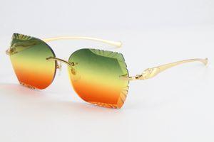 2020 di vendita di metallo serie leopardo Occhiali da sole 3.524.012 Rimless Occhiali da sole rettangolari Single-Lens Occhiali Grande quadrato Eyewear Maschio e femmina