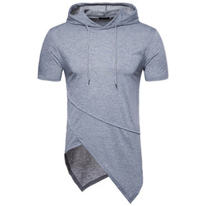 Moda-İlkbahar Yaz Erkek T-shirt Düzensiz Tasarım Casual Kapşonlu Gömlek ABD Eur Boyutu Yüksek Sokak Stil Homme Temel Tee