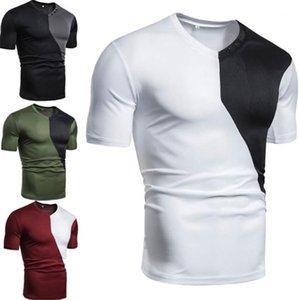 Para hombre camisetas remiendo color suelta de manga corta para hombre de las camisetas ocasionales respirables Superior Masculina cuello en V diseñador