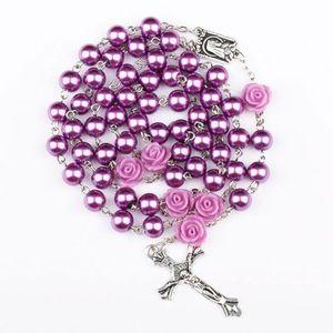 Религиозное Имитация Pearl Beads Пурпурная роза Католический Розарий ожерелье Длинные ожерелья Иисус ювелирные изделия