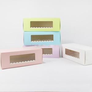 Caja de papel de cartón largo de 5 colores para pastelería Panadería Swiss Roll Cake Boxes Cookie Mooncake Packaging