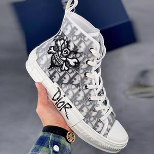 Yüksek Üst Hava Dior Converse Eğik B23 B24 AJ1 CD Siyah Saydam Terlik Tasarımcı Lüks Hommes Ve Shawn Erkekler Ayakkabı Spor ayakkabı 36-45