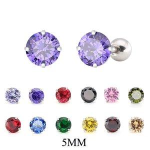 Titanium Steel Zircon Earrings Size 5mm Round Crystal Cartilage Earring ear Piercing DIY Top Body Jewelry Women
