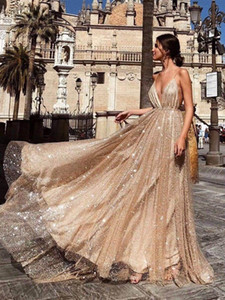 Sparkling Party Prom Gowns 2019 vestidos de graduacion A Line Spaghetti Straps V Neck Backless Sequin Gold Long evening Dress