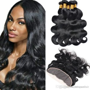 New Arrival Body Wave Raw Virgin Hair 13 * 4 Lace Frontal With 4 Bundles Unprocessed 7a Virgin Brazilian Hair Bundles Wet And Wavy Hair