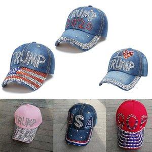 Donald Trump 2020 Cappello Denim Diamante Presidente ricopre i cappelli da baseball registrabili uomini Snapback donne Outdoor Sports Cap per la normale usura 20pcs