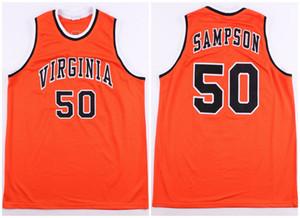Virginia Cavaliers Collegio Ralph Sampson # 50 Retro Jersey di pallacanestro degli uomini di cucito su misura Numero Nome maglie