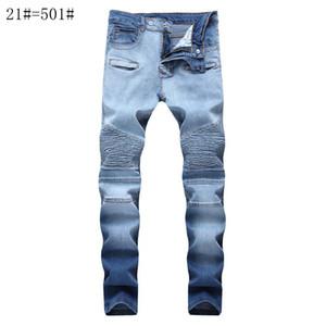 Мужские Проблемные рваные узкие джинсы Модные мужские джинсы Тонкий мотоциклов Moto Байкер Причинная мужские джинсовые брюки хип-хоп мужские джинсы
