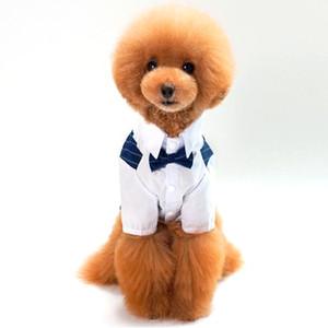 Suministros para mascotas Ropa para perros Ropa para perros pequeños 100% algodón Traje para mascotas Mascotas Boda Rayado Caballero Ropa para perros Camisa de perrito Vestido