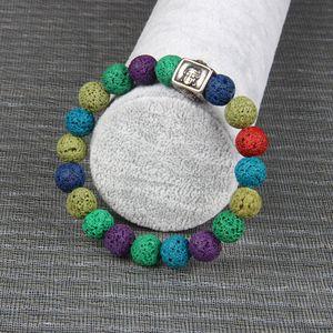 Pulsera de acero para hombre de Stailess Pulsera Om Mani Padme Hum pulsera de Buda de plata con 10 mm de joyería de piedra natural para la fiesta