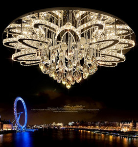 Salon circulaire LED lampe en cristal de LED Tricolor plafond Lampes Pétale Simple Moderne Chambre Eclairage en acier inoxydable LLFA