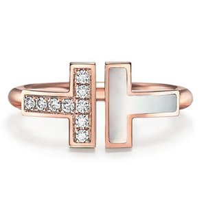 2020 new rose gold inlaid pearl mother shell and diamond square ring woman high quality fashion jewelry giftc9c2#