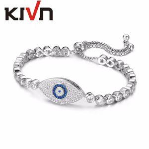 Gioielli Kivn Regolabile Blue Eye Charm Cz Cubic Zirconia Womens Girls Tennis Bridal Wedding Braccialetti Regali 10 pz Lotto All'ingrosso C19021501