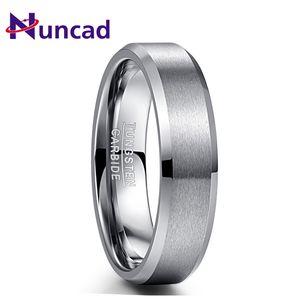 Nuncad Men's Carbide Tungsten Ring 6MM Wide Steel Color Matte Surface Comfort Fit Wedding Finger Rings 2020 Valentine's Day Gift