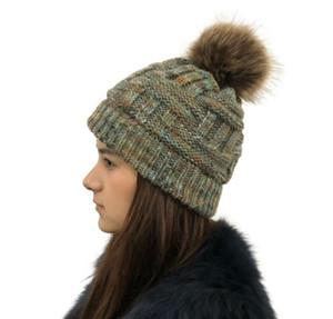 al por mayor de tejidos de lana acrílico Beanie sombrero de piel de imitación de Pom Pom adultos bola gorro de mezcla del sombrero del invierno del hilado del deporte al aire libre del capo sombreros