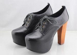 Frau echtes Leder-Schwarz Jeffrey Boots-Plattform-Sanda Campbell Lace-up Neue Stiefel Schuhe